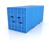 Bright blue metal freight shipping container on white  backgroun — Stock Photo