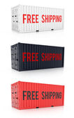 Free Shipping Red Black White Metal Freight Shipping Container On White — Stock Photo