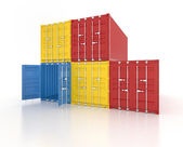 Colour stacked shipping containers on white background — Stock Photo