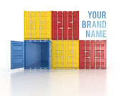 Your name colour stacked shipping containers on white background — Stock Photo