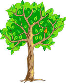 Strom s jednou červený list — Stock vektor