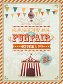 Vintage fun fair and carnival poster — Stock Photo