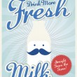 Vintage milk poster template — Vector de stock