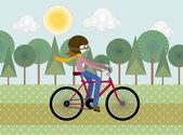 Cyclist illustration — Vector de stock