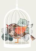 Bird in cage — Vetorial Stock