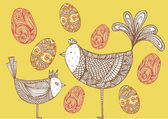 Birds with eggs — Stock Vector
