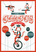 Vintage circus juggling monkey — Stock Vector