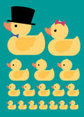 Rubber duck family — Stock Vector