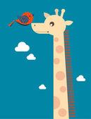 Giraffe and bird — Stock Vector