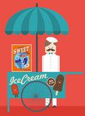 Vintage ice cream push cart — 图库矢量图片