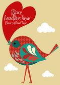 Bird with heart — Stock Vector