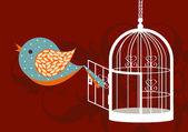 Opened birdcage — Stock Vector