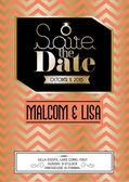 Retro wedding save the date invitation card — Vector de stock
