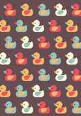 Seamless colorful  rubber ducks — Stock Vector