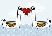 Swans in love — Stock Vector