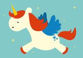 Flying unicorn illustration — Vettoriale Stock
