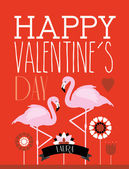 Valentine's day flamingo template — Stockvector