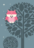 Owl on the tree — Stock Vector