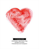 Watercolor heart wedding invitation card — Stock Vector