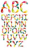 Alfabeto de manchas de color — Vector de stock