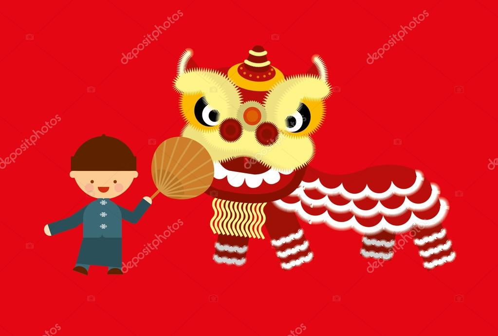 Chinese Lion Dance Vector Chinese Lion Dancing With Boy