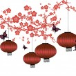 Cherry blossom and red lanterns — Stock Vector #45228801