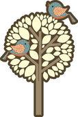 Tree with birds — Stock Vector