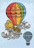 Retro hot air balloon — Stock Vector