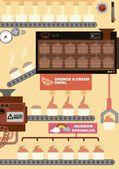Cupcake factory — Stock Vector