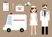 Doctor nurse ambulance — Vettoriale Stock