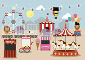 Fun fair park — Stock Vector