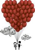 Herz-ballons — Stockvektor