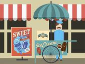 Vintage ice cream push cart — Stock Vector