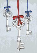 Antique keys — Stock Vector