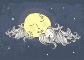 Lune et nuages — Vecteur