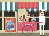 Vintage patisserie push cart — Stock Vector