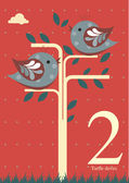 Second day of Christmas - Two turtle doves — Stock Vector