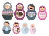 Russian doll family — Stock Vector