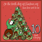 Tenth day of christmas — Stockvector