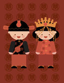 Traditional chinese wedding couple costume — Stock Vector