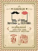 Vintage wedding invitation card — Stock Vector