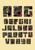 Floral font alphabet — Stock Vector