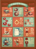 Vintage adventkalender — Stockvector