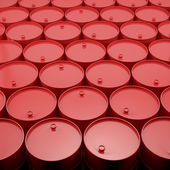 Large group of red  barrels. — Stock Photo
