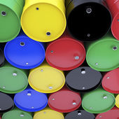 Large group of varicolored  barrels. — Stock Photo
