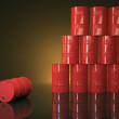 Large group of red barrels — Stock Photo #49056063