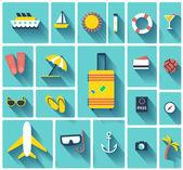 Summer vector flat icons — Stock Vector