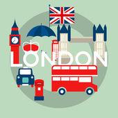 Vector set of London symbols — Stock Vector