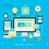 Electronic commerce flat illustration — Stock Vector