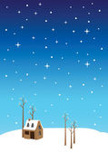 Silent Night Christmas Eve Vector Illustration — Stock Vector